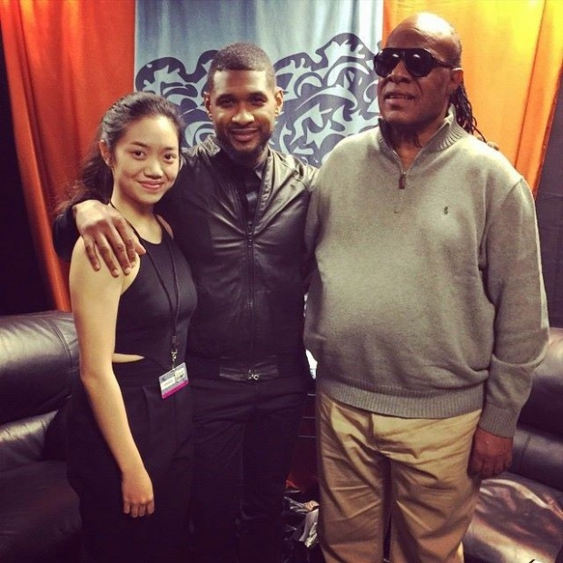 OCYSO Principal Harpist Melody Tai performs with Usher and Stevie Wonder at the Grammys 2015